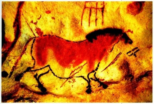 Paleolithic cave paintings in Lascaux Caves, southwestern France