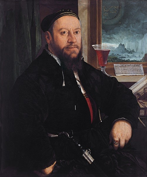 Matthaus Schwarz founder of fashion from XVI century. Portrait of Matthäus Schwarz by Christoph Amberger, 1542, Thyssen-Bornemisza Museum