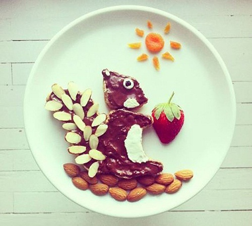 Squirrel. Colorful breakfast art by Ida Skivenes