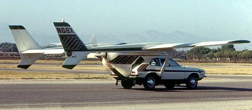 The 1973 AVE Mizar attached a Cessna Skymaster airframe to a Ford Pinto. Its inventor was killed when the wings collapsed during a test flight