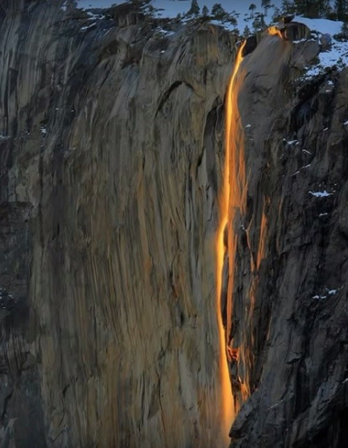 Yosemite Horsetail Fall is the natural phenomenon, often referred to as the 'Firefall'