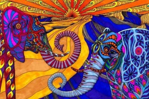 Colorful drawings of pen and ink and digital design by American artist Phil Lewis