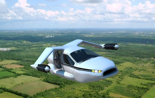 Flying cars against traffic jam