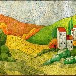 Eggshell mosaics by Russian mixed artist Lyubov Meshakina