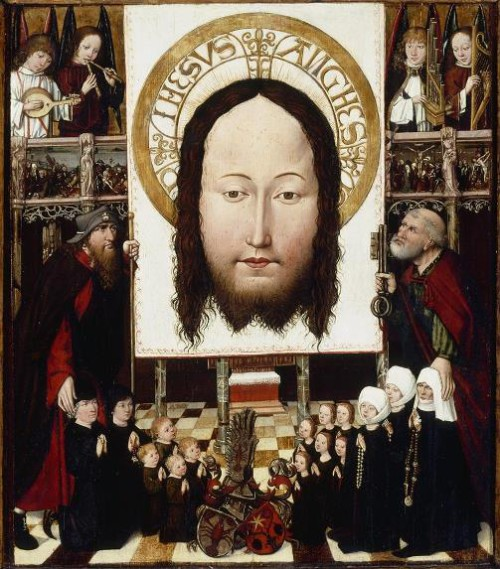Family Group Adoring the Veil of Veronica, c. 1490, Austrian, oil on panel