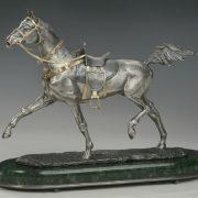 Akhal-Teke horse. Miniature sculpture of gold, silver, diamonds, rubies, jade. Moscow jewelry company Sirin