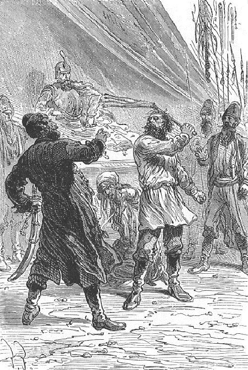 An illustration from the novel Michael Strogoff - The Courier of the Czar by drawn by Jules Ferat