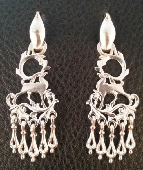 Long earrings. Reindeer. Material Silver 925