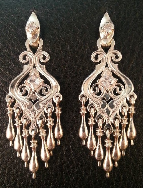 Long silver earrings from siberia with love