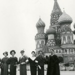 Models pose at the Red Square in Moscow in 1959