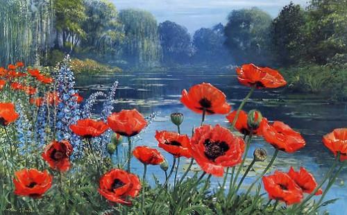 Poppies-Monet's Pond. English artist Peter Ellenshaw