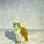 Red cat on the snow