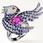 Ring set with pink, blue and violet sapphires, and diamonds