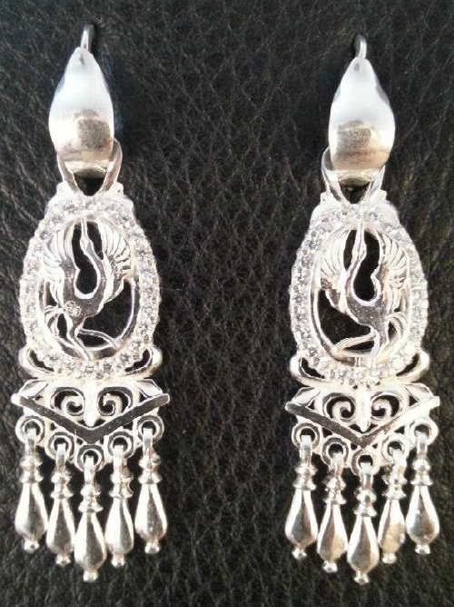 Silver earrings with the image of Siberian crane