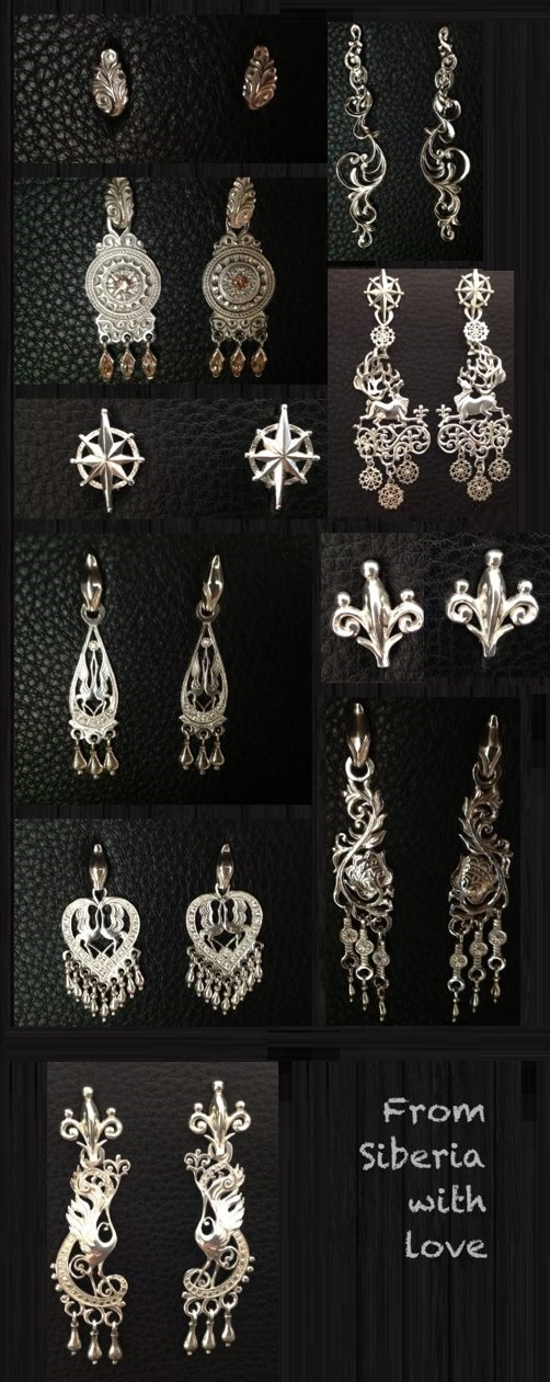 Silver earrings. Charms can be removed and worn separately as small earrings