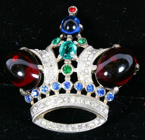 Sterling Trifari crown pin set with cabochon, clear and colored glass stones