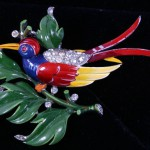 Trifari Enamel Bird of Paradise Pin Brooch