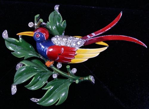 Trifari Enamel Bird of Paradise Pin Brooch
