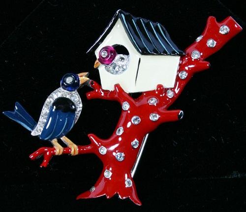 Trifari Enamel Birds Birdhouse Pin Clip