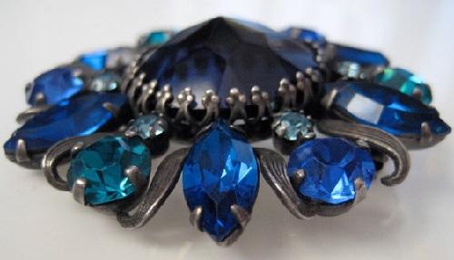 Vintage 1950s Brooch Weiss Blue Pin Cobalt Rhinestones
