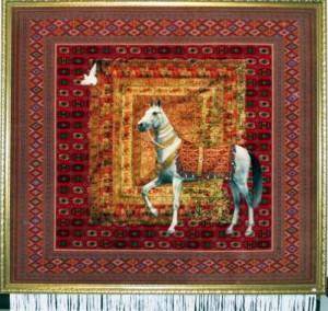 Turkmenish carpet with the image of a wonderful Akhalteke breed.