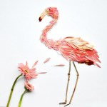 Flamingos made from pink gerberas and twigs