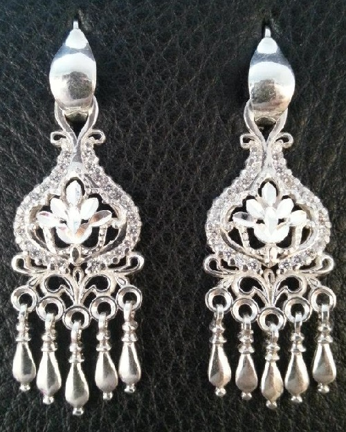 Silver earrings with inlays of phianites