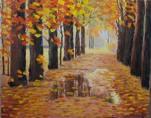 Autumn puddle. Artist Andrey Zinchenko, 2012. Style - Impressionism, genre - Autumn Landscape, Technique - Oil, Canvas