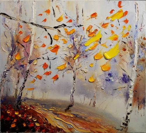 Fog of last leaf. Artist Vadim Stolyarov, 2013. Impressionism, Autumn Landscape, Oil on Canvas