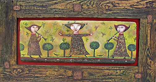 Gothic naive paintings by Pavel Nikolaev