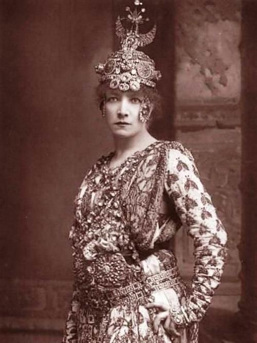 Sarah Bernhardt as Crowned courtesan saint Theodora