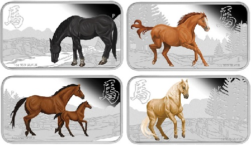 2014-Year-of-the-Horse-Rectangle-Silver-Coins. Named the Lunar Calendar Series 2014 Year of the Horse Rectangle Four-Coin Silver Set and