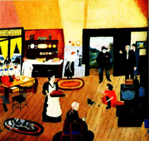 The Tramp At Christmas,1945. Painting by American artist Grandma Moses