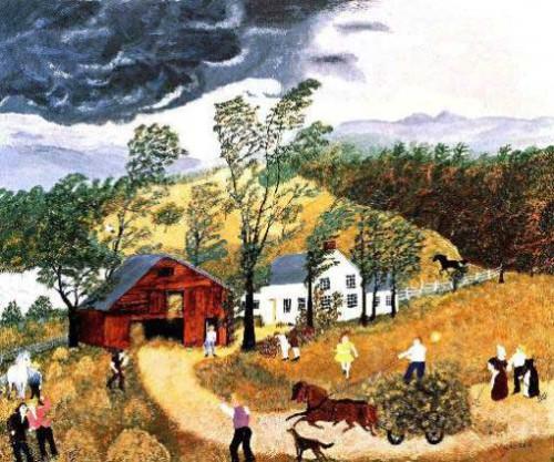 Thunderstorm, 1948. Painting by American artist Grandma Moses