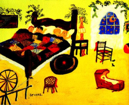 Waiting for Christmas,1960. Painting by American artist Grandma Moses