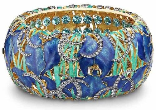 'Irises on the pond' Bracelet. 2013 Gold, diamonds, topazes, hot enamel jewelery