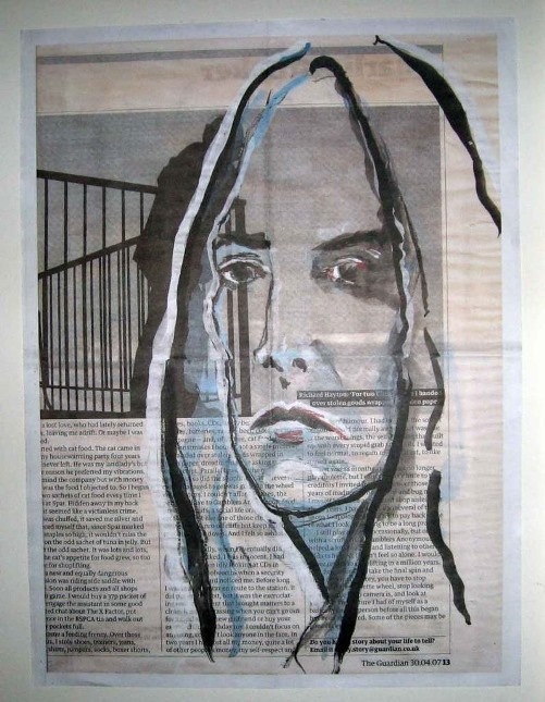 Patti Smith. Wrapping paper created by Johnny Depp for The Katine Project charity fundraiser, Christmas appeal 2008, as published in The Guardian