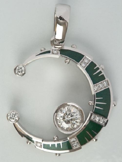 Crescent. Made by Alexander Shatokhin, Russian artist jeweler