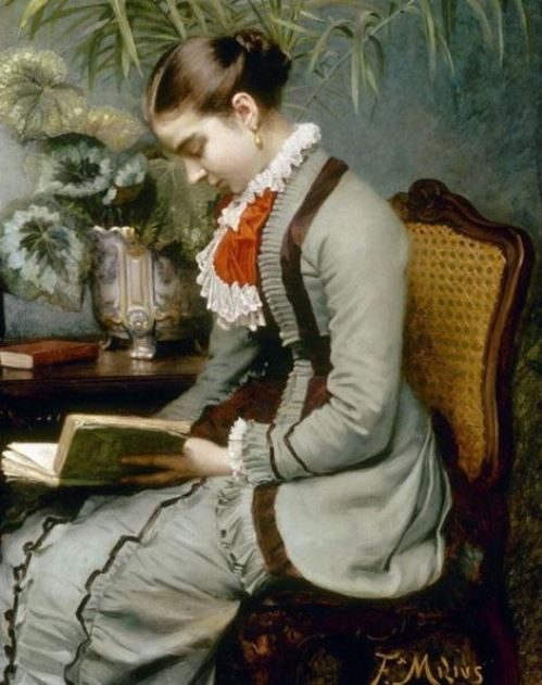 Date a girl who reads. French painter Felix-Augustin Milius (1843-1894)
