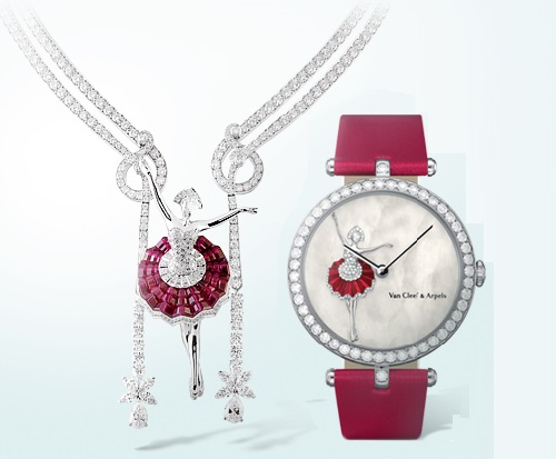 Ballerina Dancer set and timepiece. Van Cleef and Arpels