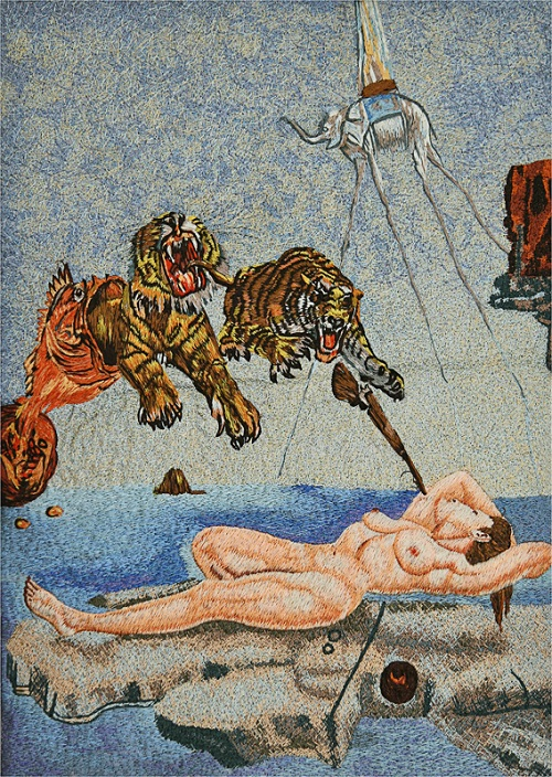 Classic paintings embroidery Salvador Dali