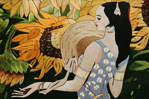 Girl with Sunflowers, Classic paintings embroidery