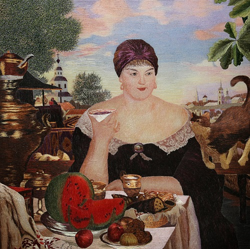 Classic paintings embroidery (based on painting of Russian artist Kustodiev)
