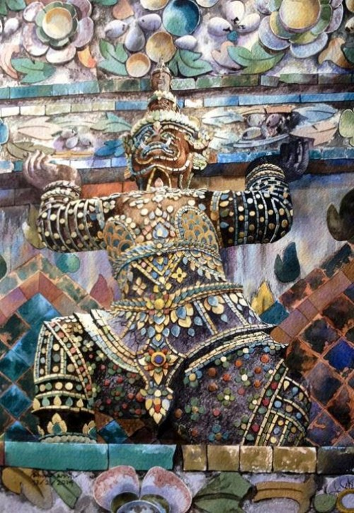 The giant. Watercolor on paper. Painting by Thai artist Ti Watercolor
