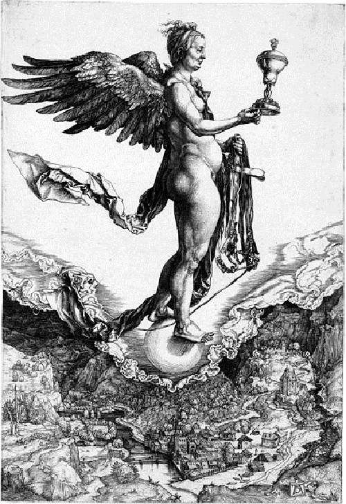 Roman Goddess of luck Fortuna. Albrecht Durer