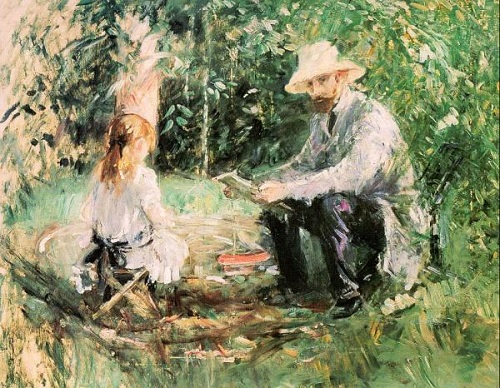 impressionist painter Berthe Morisot. Eugene Manet and his daughter Julie in the garden 1884
