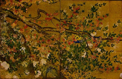 Maples and cherries painting by Hasegawa Tohaku