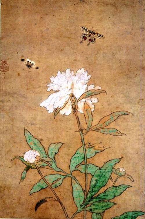 Peonies. Painting by Hasegawa Tohaku (1539-1610)
