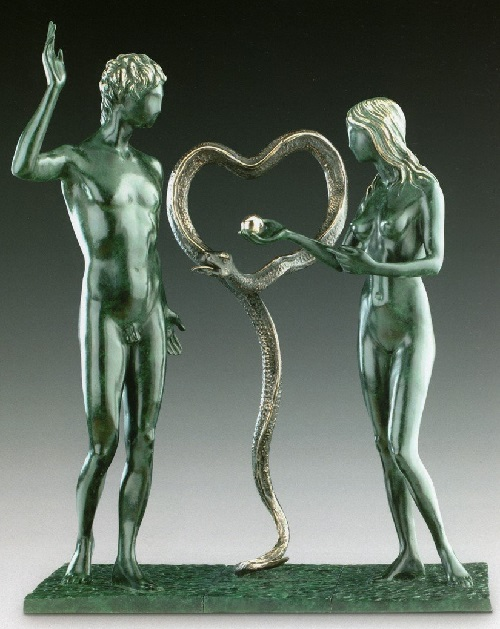 Adam and Eve. Salvador Dali bronze sculpture