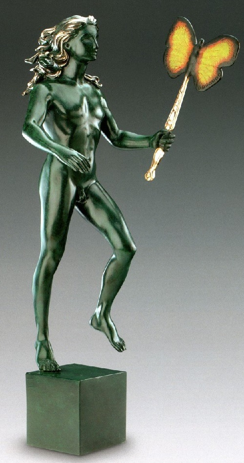 Male figure with butterfly. Salvador Dali bronze sculpture